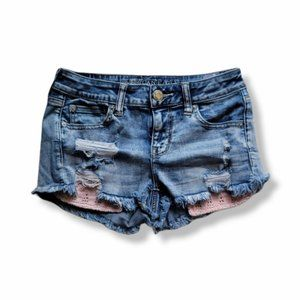 """American Eagle """"Shortie"""" Distressed Jean shorts"""
